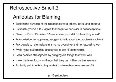 Agile Retrospective Smells cards - antidotes for blaming
