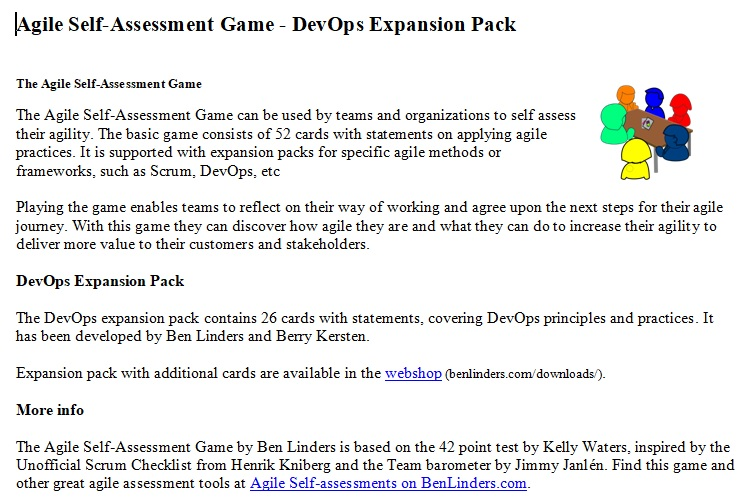 DevOps Expansion Pack for Agile Self-assessment game