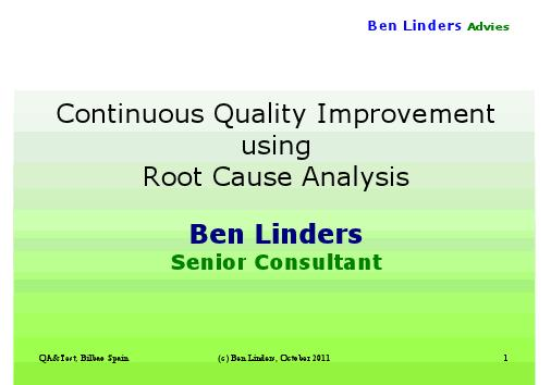 continuous quality improvement using root cause analysis