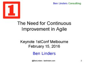 Keynote on continuous improvement in agile published