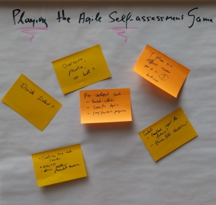 Ideas for playing the Agile Self-assessment Game