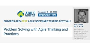 Workshop Problem Solving with Agile Thinking and Practices at Agile Testing Days 2020